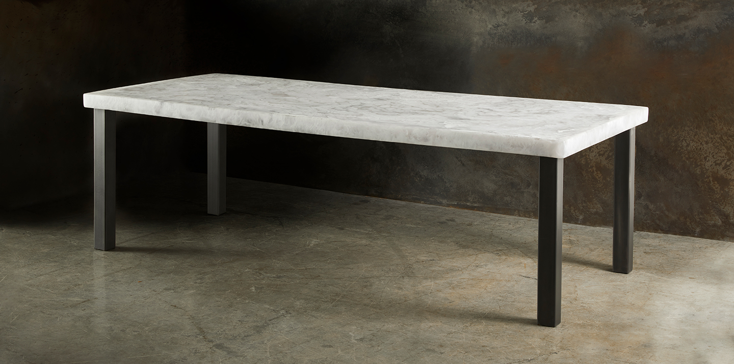 long contemporary dining table with resin top