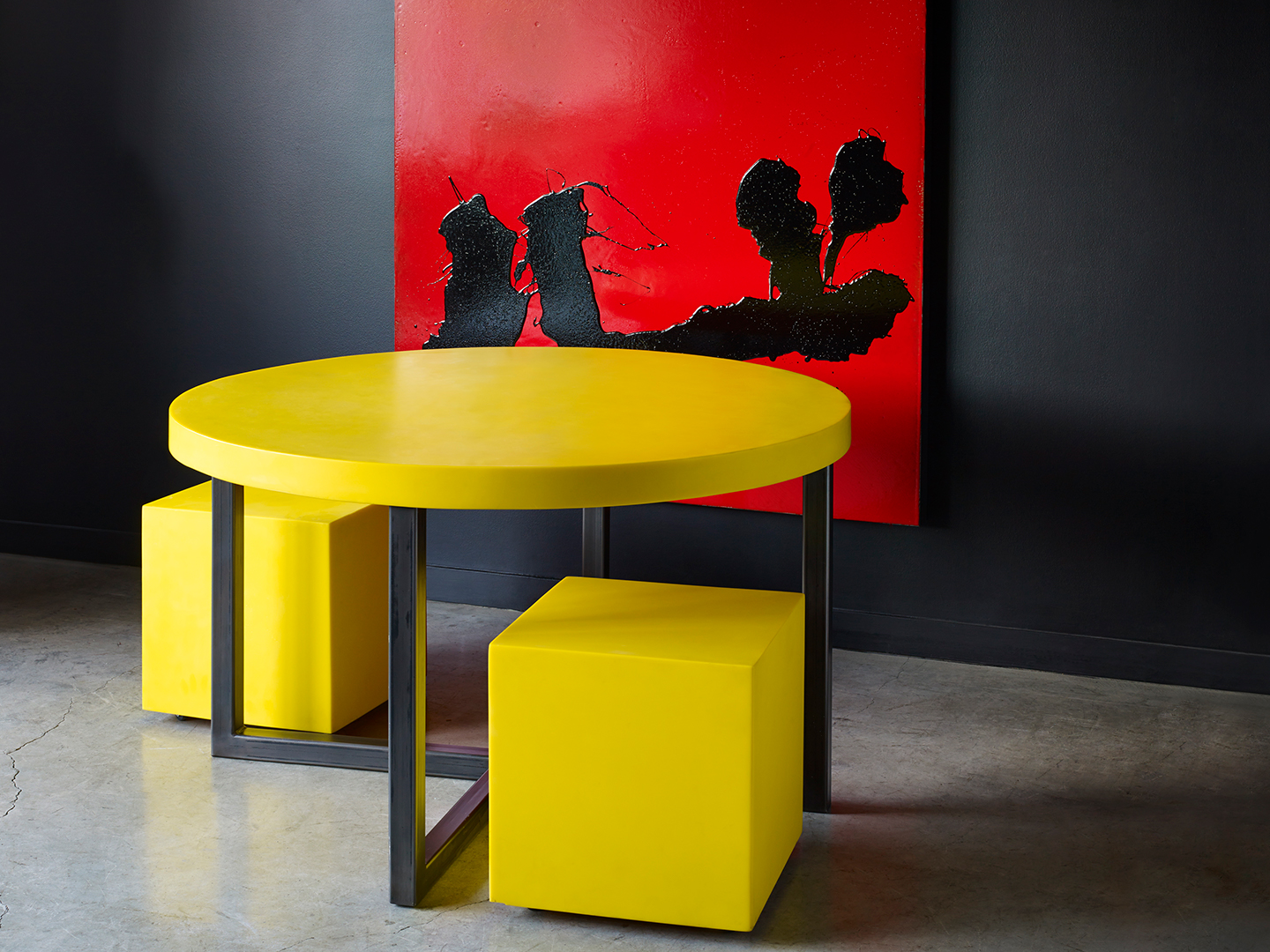 bright yellow modern round dining table