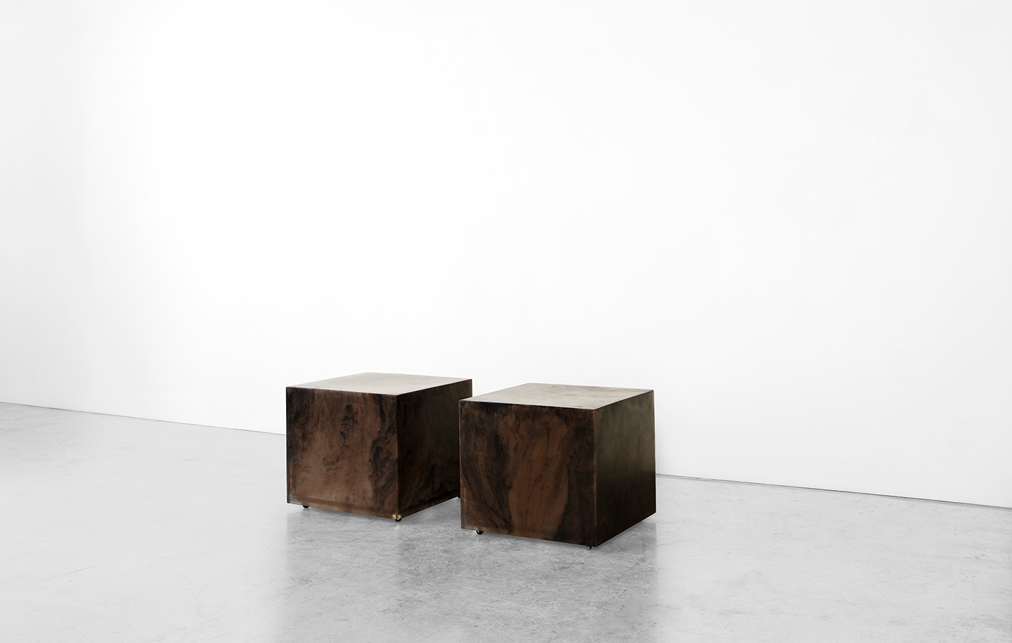 two brown modern side table