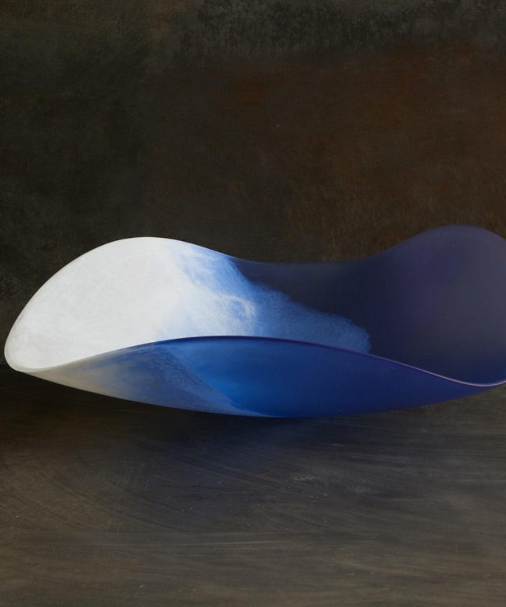 white and blue resin handmade bowl