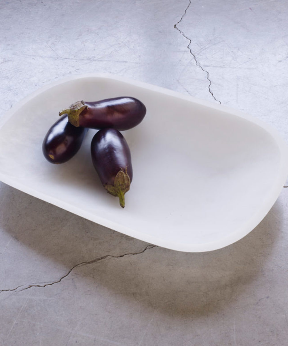 white resin decorative serving tray
