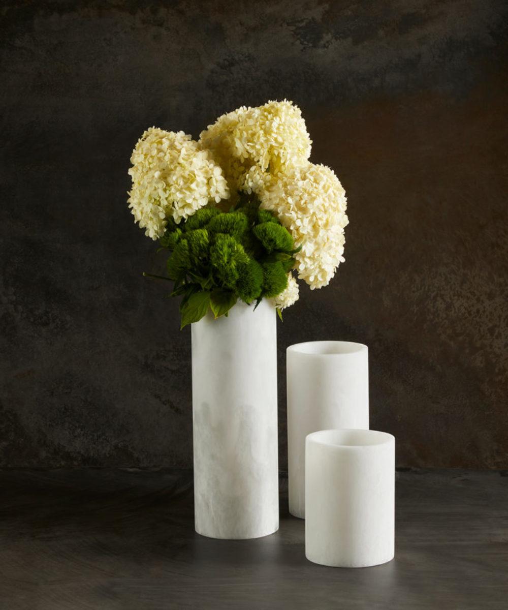 round contemporary flower vase
