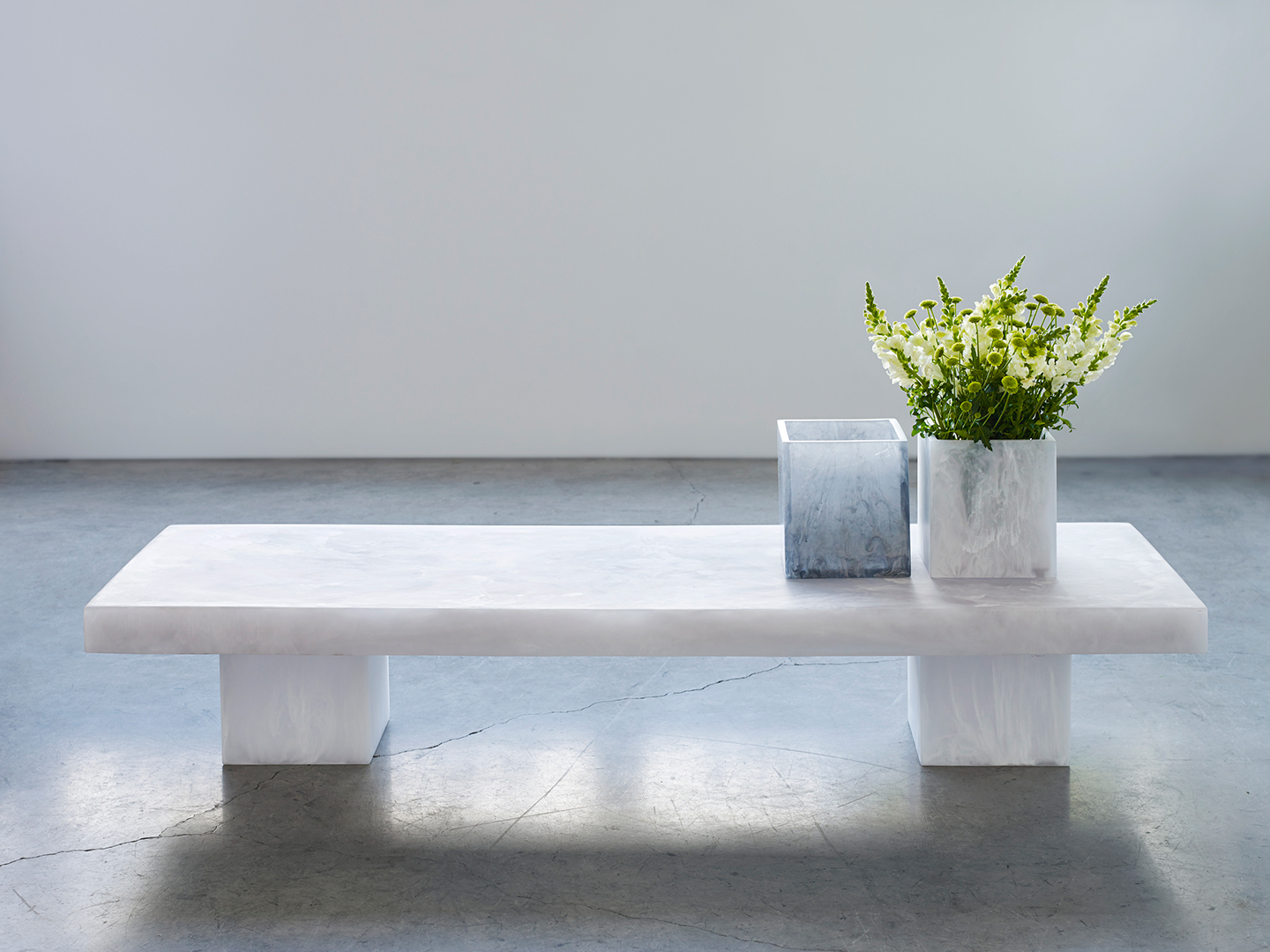 modern vases on a coffee table
