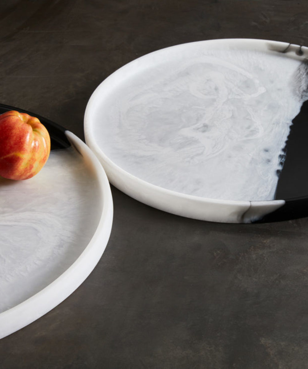 round resin coffee table trays