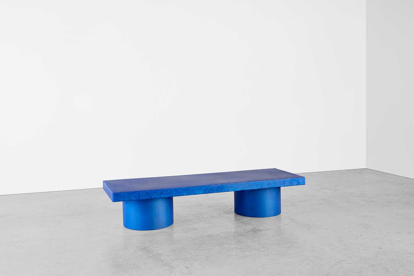 blue unique coffee table called the torch table