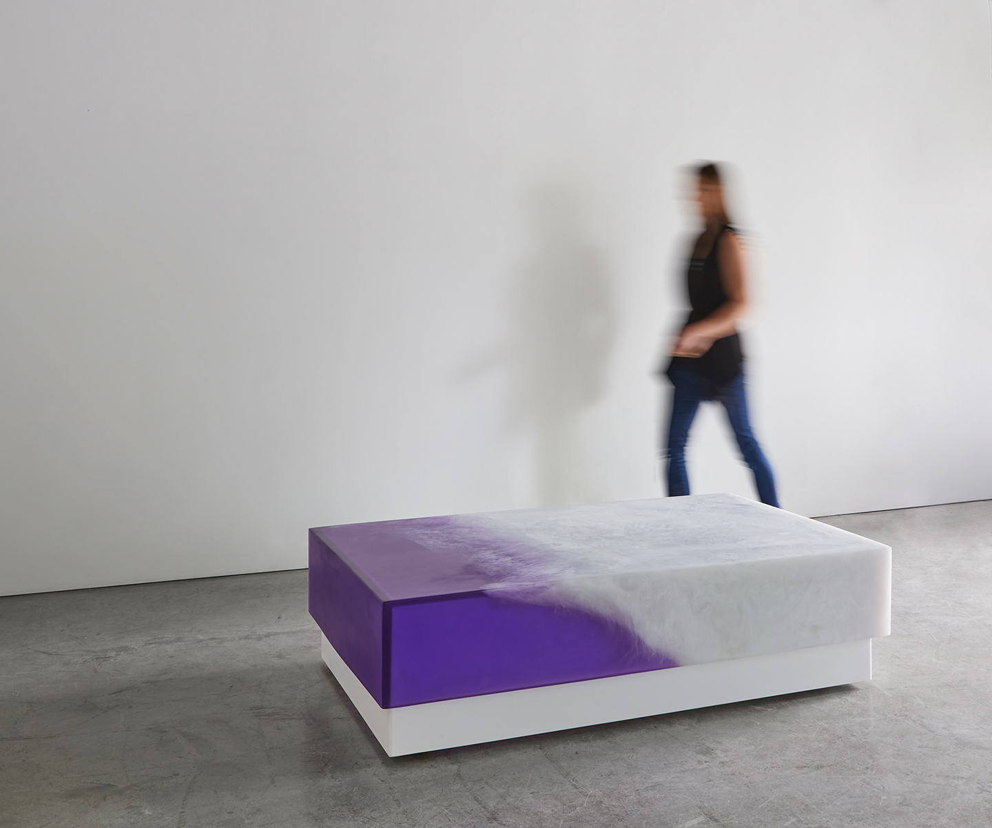 purple and white modern coffee table
