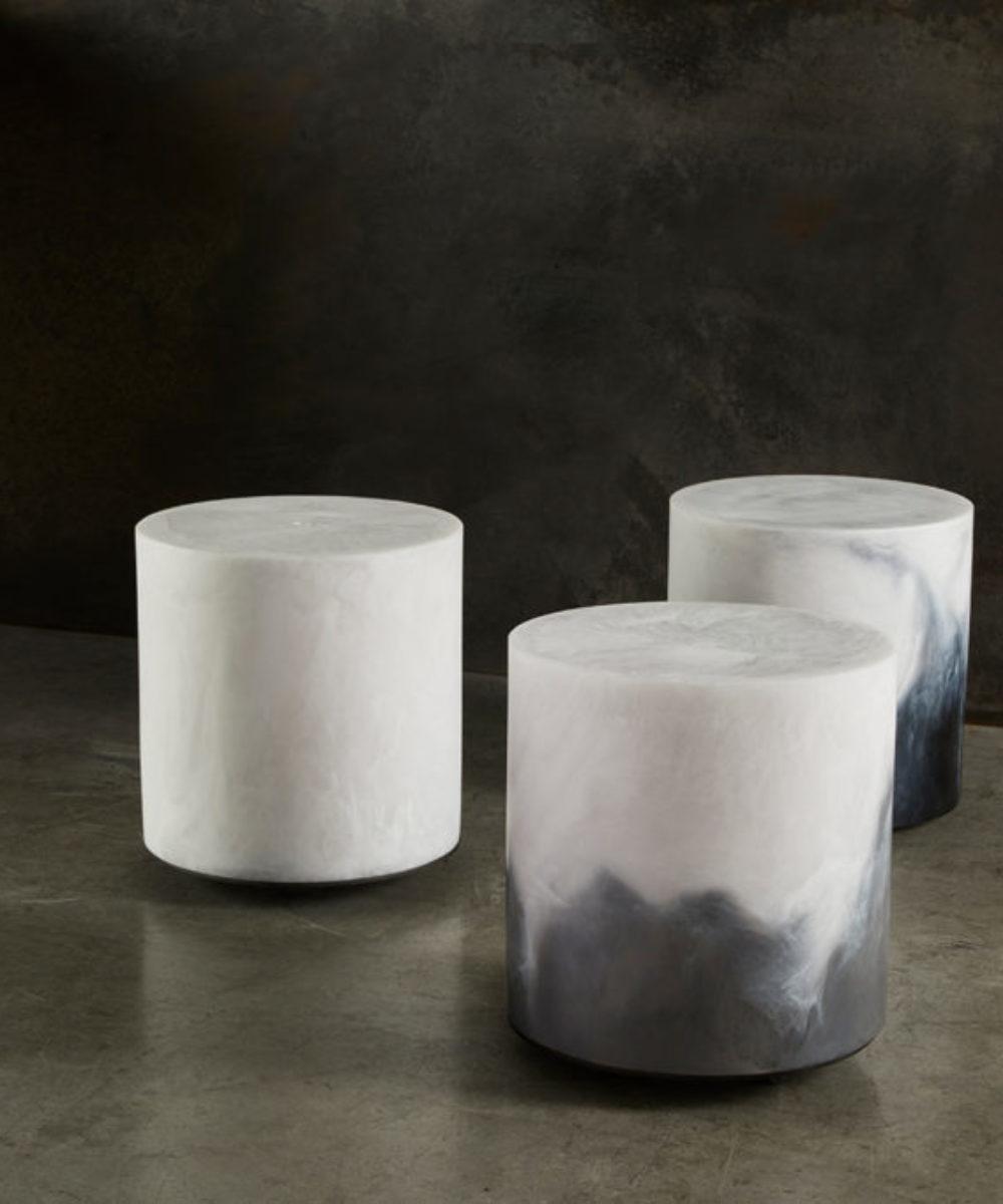 three beautiful resin modern stools