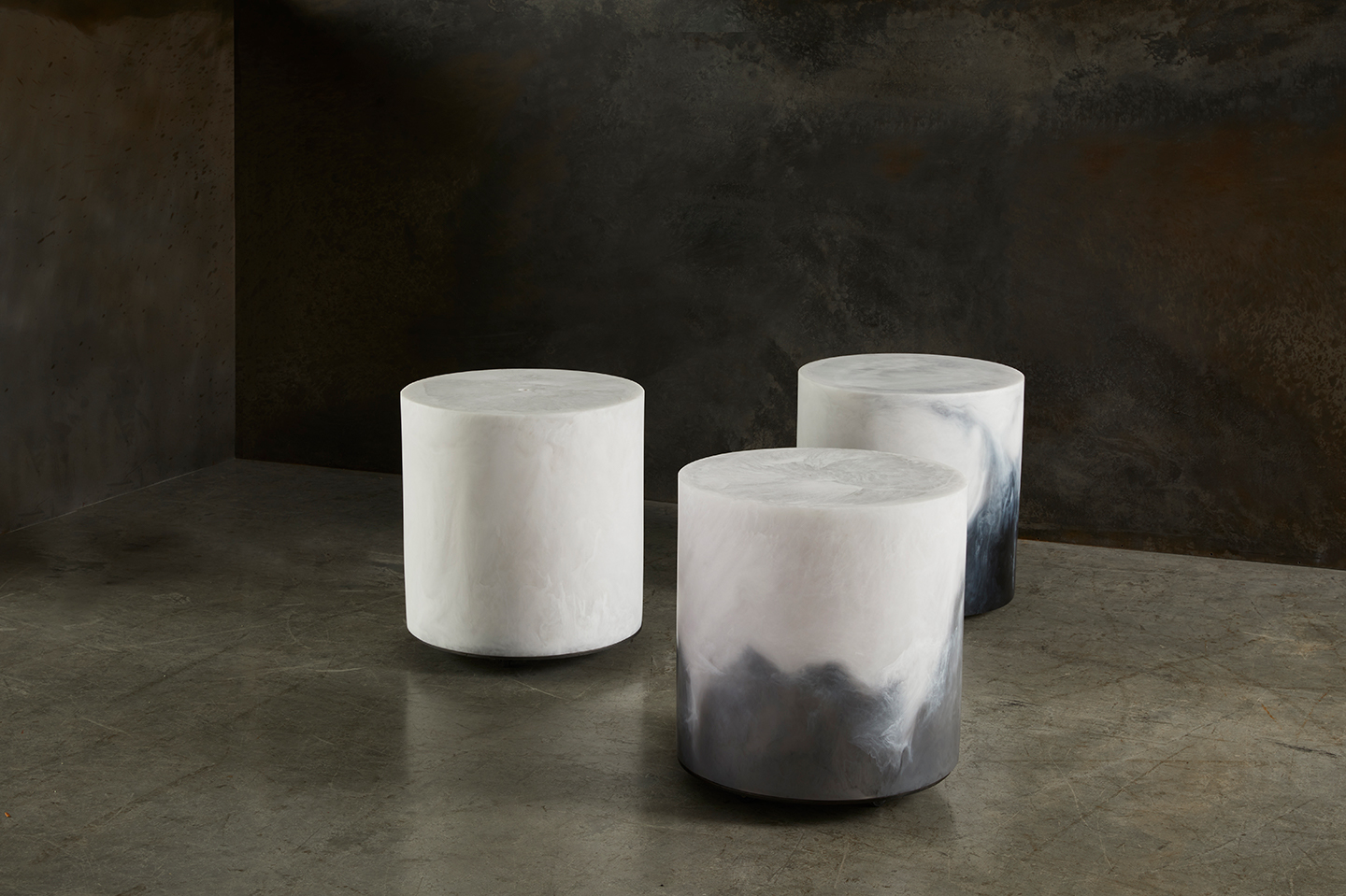 three beautiful resin modern stools
