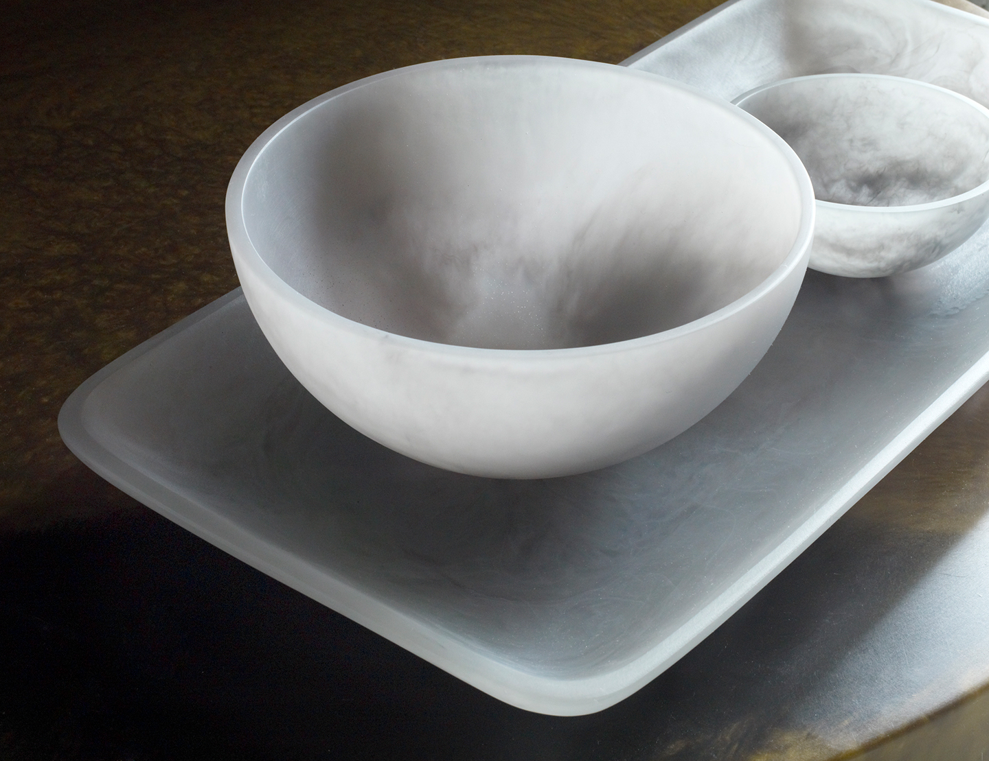 resin bowls and serving platter