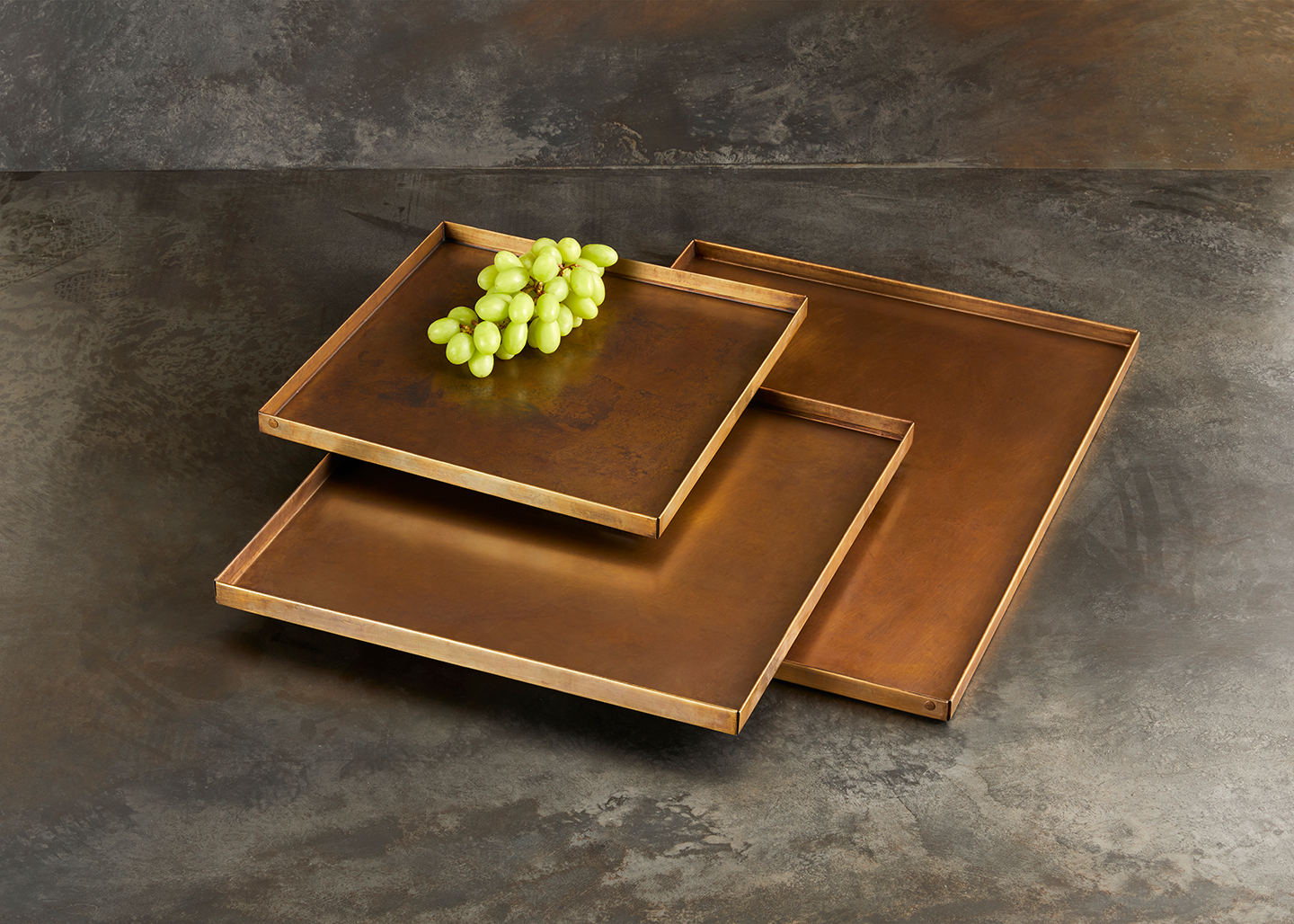 brass square tray