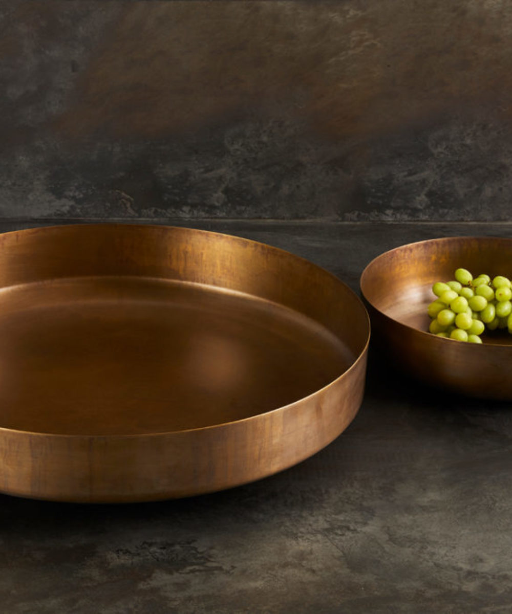 two brass bowls
