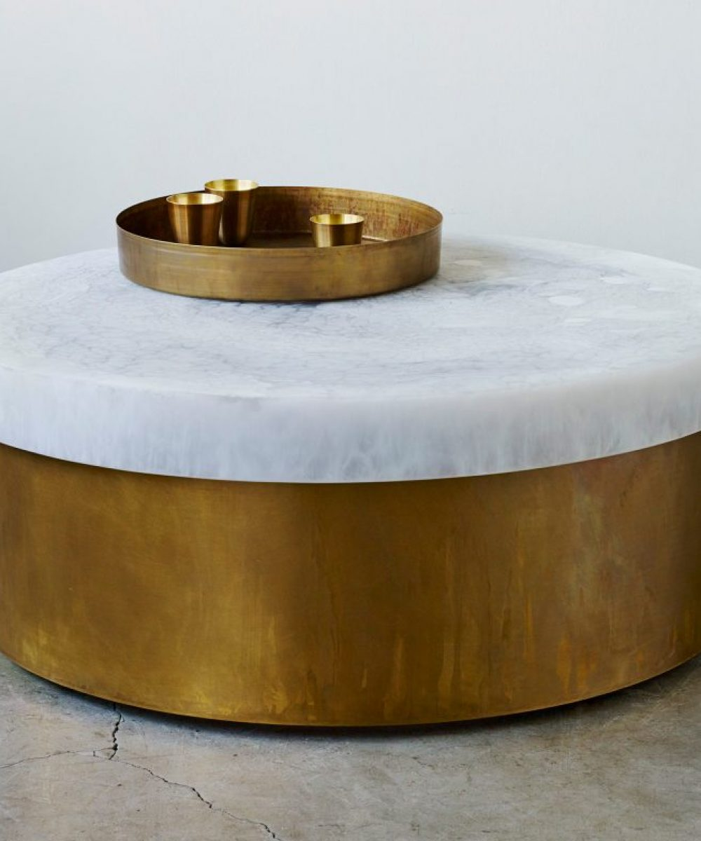 white marble and brass fusion round table - hemlock brass tray - brass tea cups